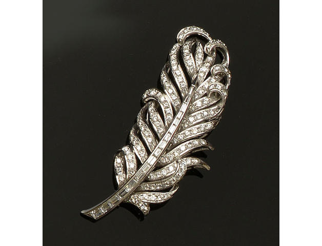 An early 20th century diamond feather brooch