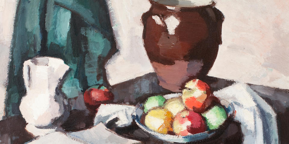 Samuel John Peploe, RSA (British, 1871-1935) Still life with Crock 63.5 x 76.5 cm. (25 x 30 1/8 in.)