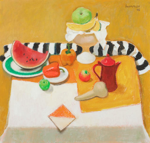 Alberto Morrocco, OBE RSA RSW RP RGI LLD D Univ (British, 1917-1998) Still life with Bananas and Striped Cloth 76 x 81.5 cm. (29 15/16 x 32 1/16 in.)