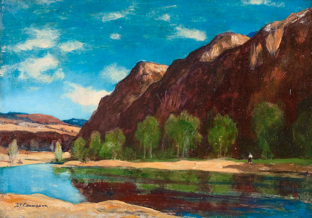 Sir David Young Cameron RA RSA RWS RSW RE (British, 1865-1945) A pool in Badenoch 25 x 35.5 cm. (9 13/16 x 14 in.)
