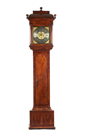 An impressive early 18th century figured walnut 8 day long case clock Thomas Sanderson, Dublin. Active Circa 1730