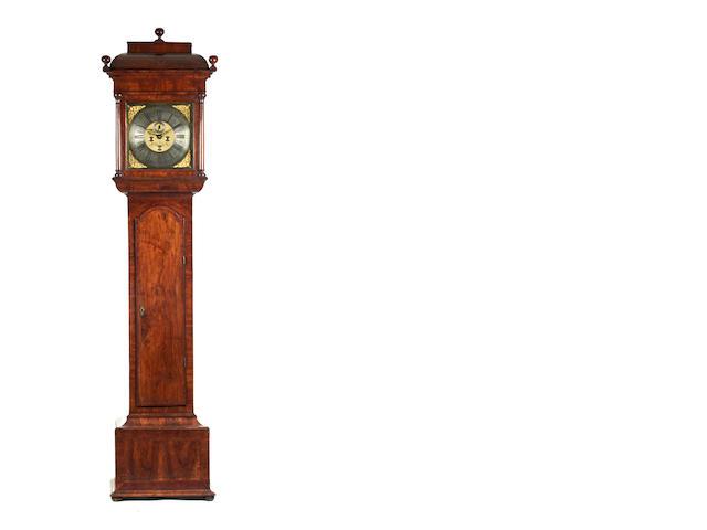 An impressive early 18th century figured walnut 8 day long case clock Thomas Sanderson, Dublin. Active Circa 1730