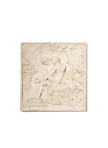 Giacomo Marchino (Italian, 1785-1841)A finely carved ivory figural relief plaque depicting Venus and Cupid, dated 1826