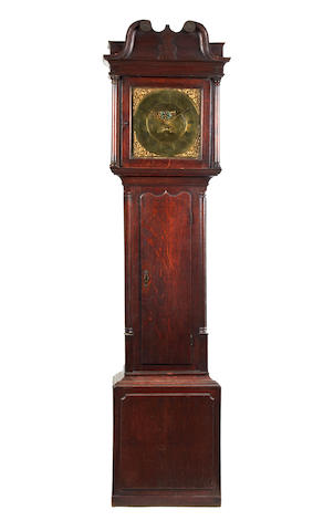A mid 18th Century oak longcase clock with 30 hour movement and penny moon dial Thomas Lister. Luddenden. Circa 1760-circa 1795