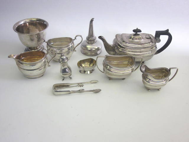 A silver  three-piece tea service by Parsons & Parsons,  London 1913, also incuse retail mark for Tessiers, and other items