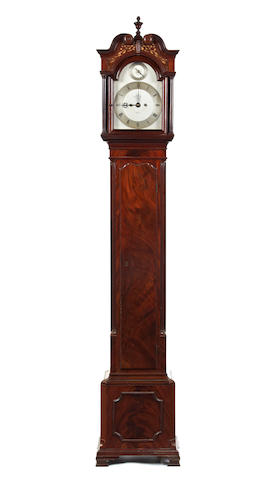 A fine early 20th century numbered George III style figured mahogany grandmother clock Dent 41 Pall Mall. London. No.63034