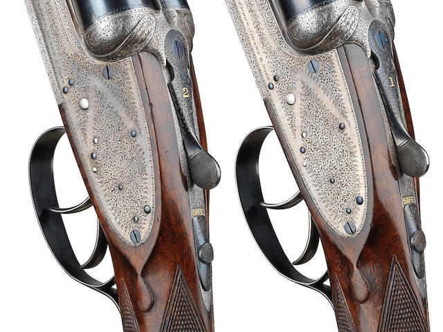 A fine pair of 12-bore 'Twelve-Twenty' assisted-opening sidelock ejector guns by Stephen Grant, no. 17335/6