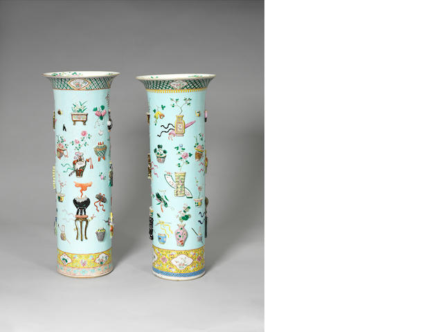 A pair of large famille rose sleeve vases 19th century