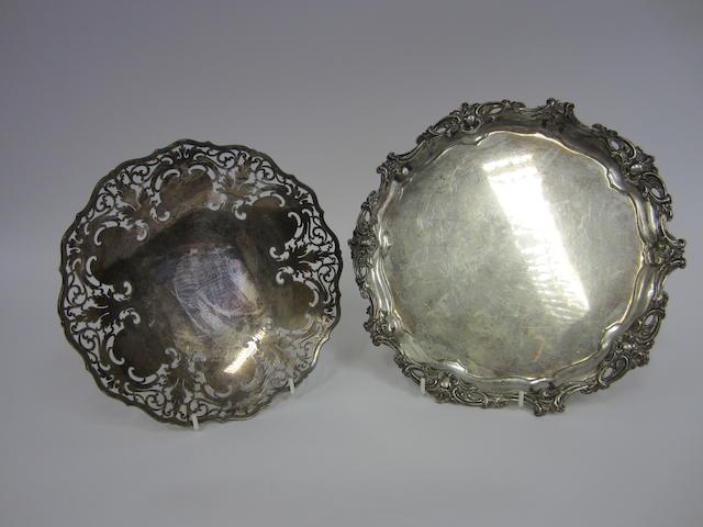 A pierced silver dish by Collingwood & Sons Ltd, Sheffield 1936  (2)