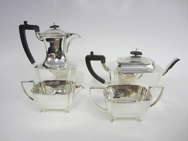 A silver four piece tea and coffee service by James Dixon & Sons, Sheffield 1948  (4)