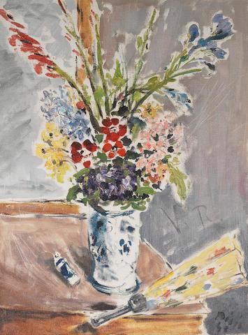 Filippo de Pisis (1896-1956) Vaso di fiori con ventaglio