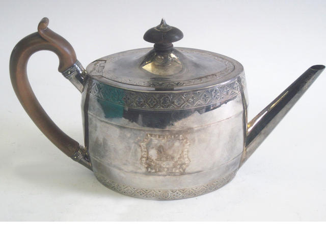 A George III silver teapot by Henry Chawner, London 1791