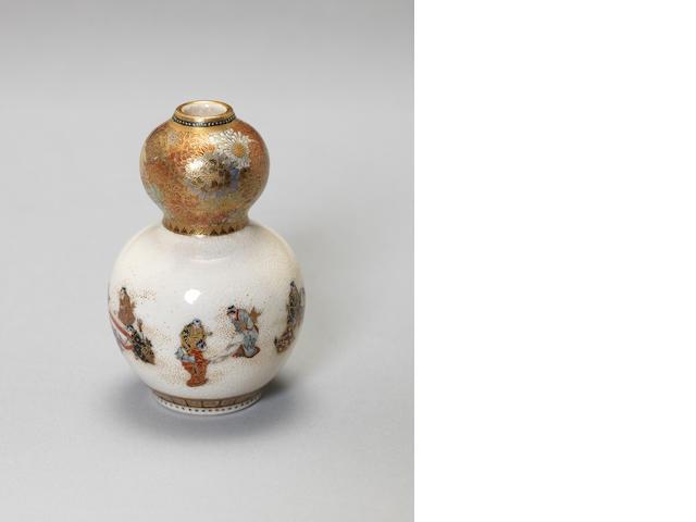A Satsuma miniature double gourd form vase By Yabu Meizan, Meiji Period