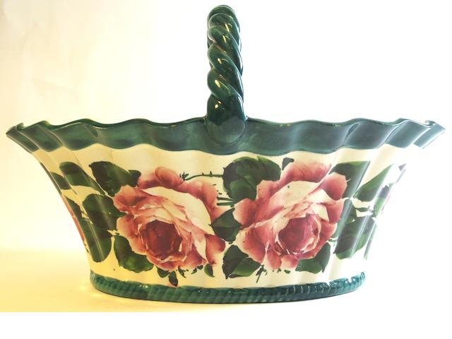 A large Wemyss 'Cabbage Roses' basket
