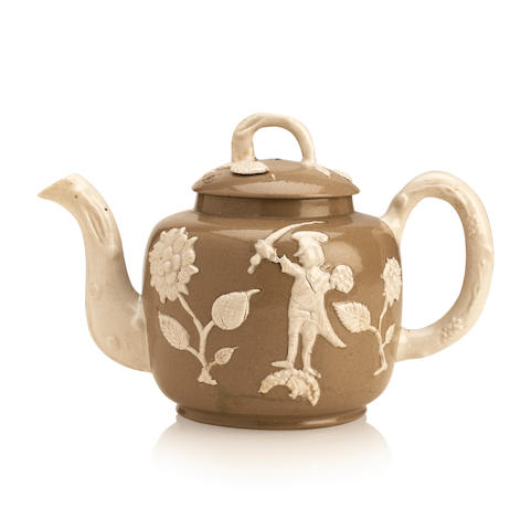 A salt glazed teapot of Jacobite interest Circa 1760