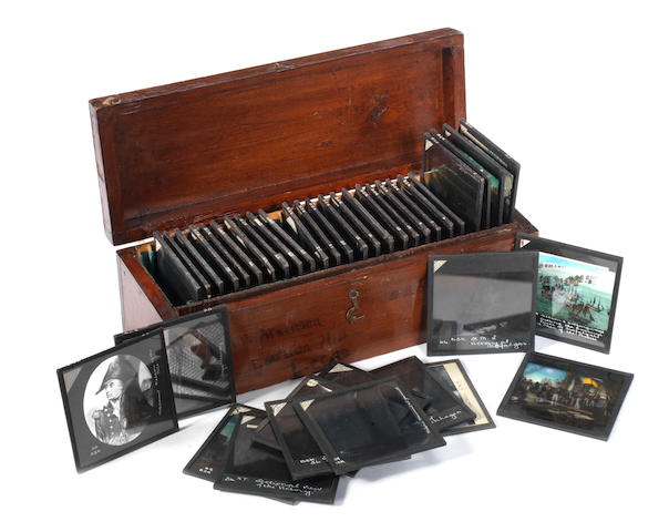 Horatio Nelson - a box of magic lantern slides.