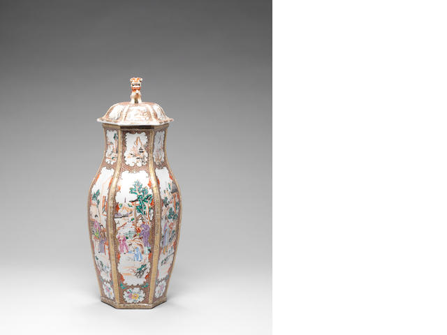 A famille rose hexagonal baluster vase and cover 18th century
