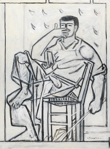 John Craxton R.A. (British, 1922-2009) Study of a Seated Butcher 77 x 56.4 cm. (30 1/4 x 22 1/4 in.)