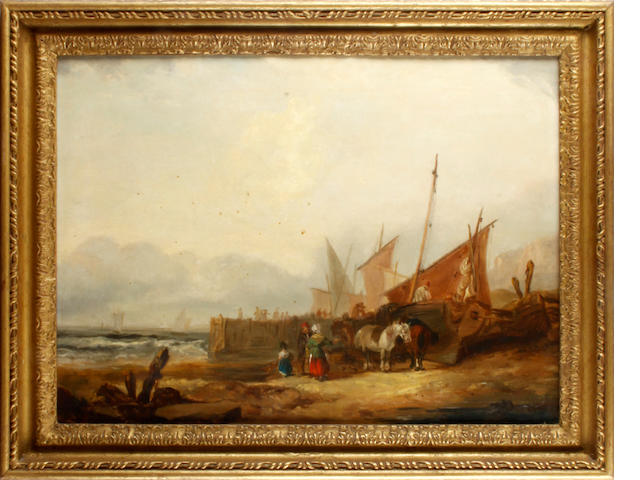 English School, 19th century Fishing vessels on a beach