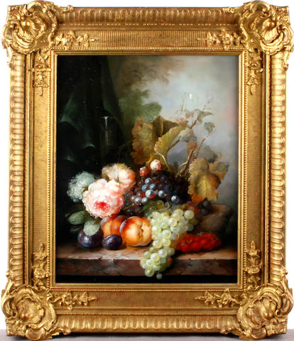 Continental School, 20th Century Still life of fruit and flowers