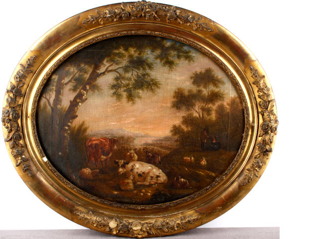 Dutch School late 18th/early 19th Century Landscape with cattle, sheep and goats