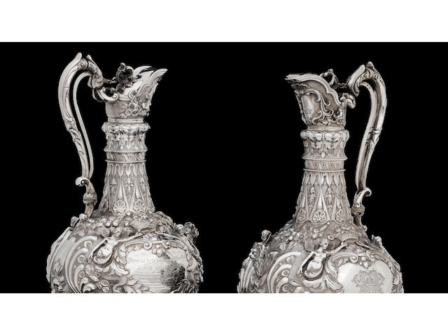 A pair of Victorian Scottish silver Armada pattern wine ewers maker's mark JM in an oval punch, unrecorded, Glasgow 1857  (2)