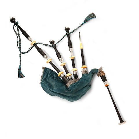 A set of ivory and silver mounted bagpipes
