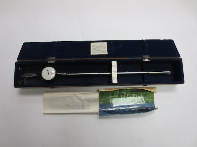 An Egerton-Chubb multi-gauge bore micrometer In its box, together with Notes on the Proof of Shot Guns & Other Small Arms (June 1960) and instruction letter from Chubbs of Edgware