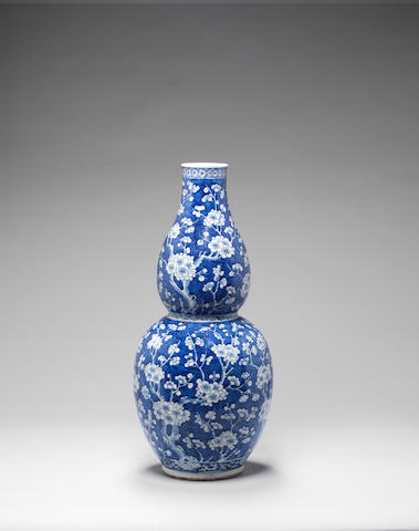 A large blue and white double gourd vase 19th century