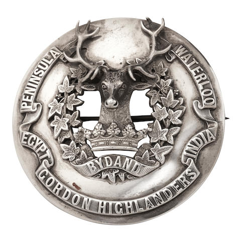 A Gordon Highlanders officer's silver plaid brooch