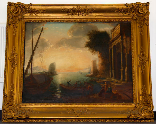 After Claude Gellée, called Claude Lorrain Sunlit harbour scene with boats and figures
