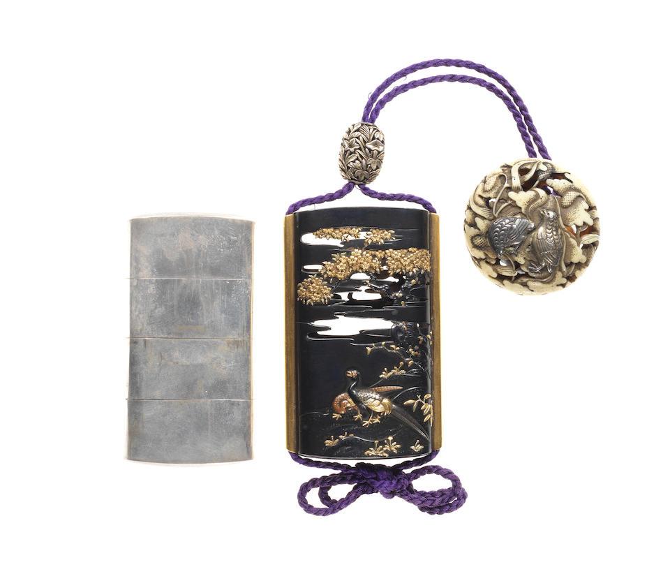 A silver three-case inro with a shakudo saya By Unno Yoshimori II, (1864-1919), early 20th century
