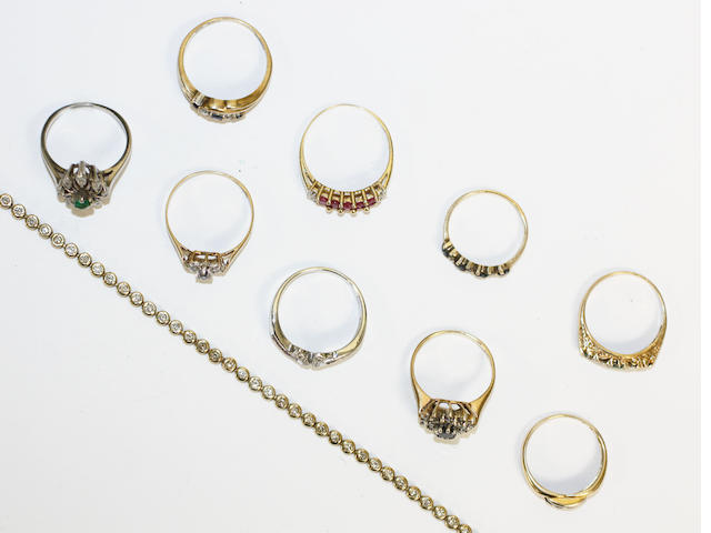 A collection of gem set rings and a bracelet, (10)