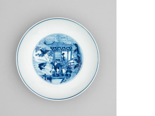 A blue and white saucer dish  Chenghua six character mark, Kangxi/Yongzheng Period
