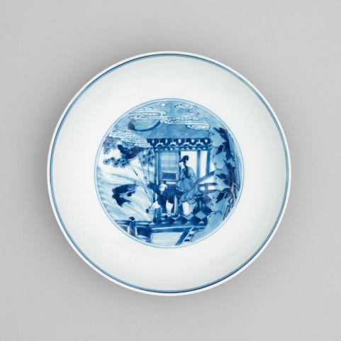 A blue and white saucer dish  Chenghua six character mark, Kangxi/Yongzheng Period