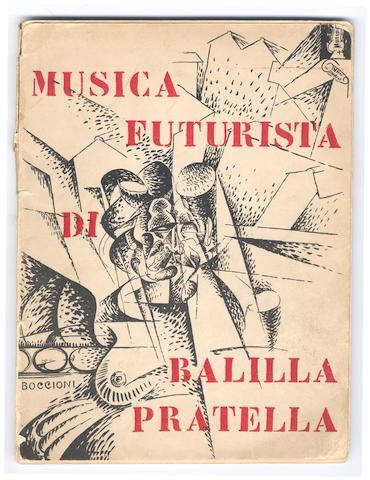 ITALIAN FUTURISM - BOCCIONI. PRATELLA (FRANCESCO BALILLA) Musica futurista per orchestra. Riduzione per pianoforte, 4 parts in one vol., cover design after Boccioni, 1912