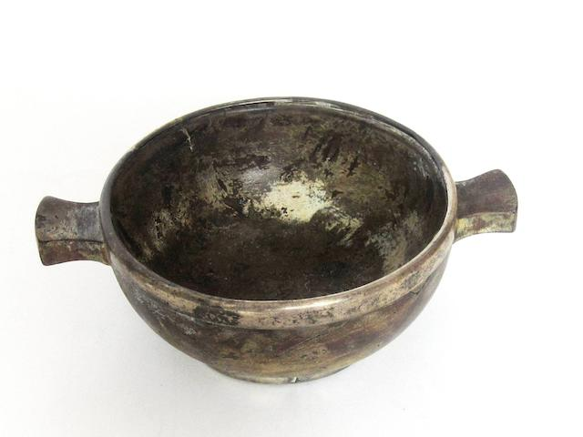 A silver mounted burr wood quaich  by J Cameron & Son of Kilmarnock, Glasgow 1900