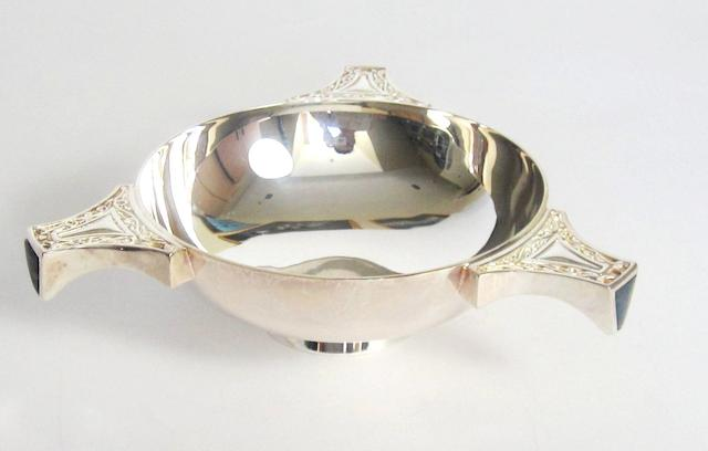 A three handled silver quaich by Hamilton & Inches, Edinburgh 1999