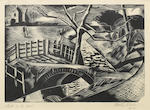 Paul Nash (British, 1889-1946) Dyke by the Road Woodcut, 1922, on wove, signed, titled, dated and numbered 50 (the edition was  50) in pencil, with margins, 123 x 178mm (4 7/8 x 7in)(B)