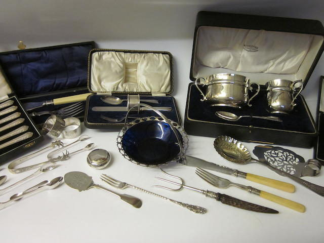 A silver three piece christening set, Birmingham 1922,  (Qty)
