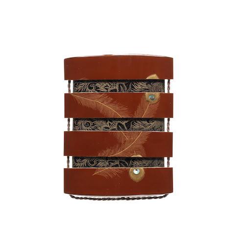 A brown lacquer three-case inro By Koma Kyuhaku, 19th century
