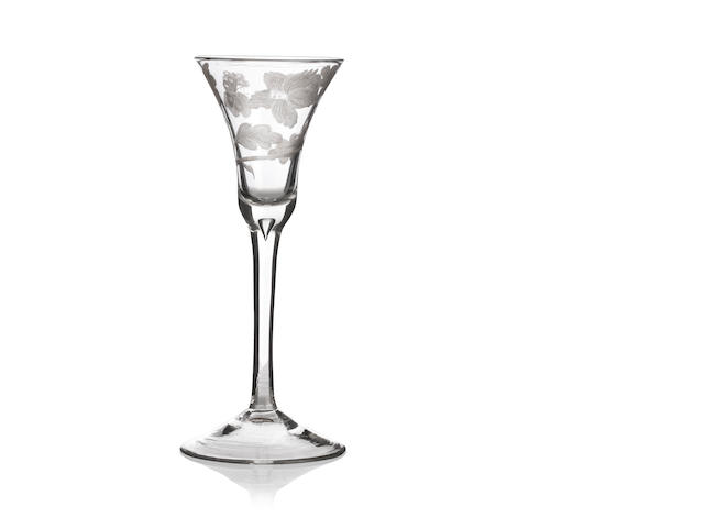 A Jacobite engraved wine glass Circa 1750