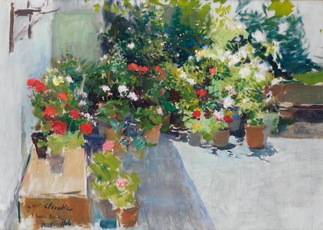Joaquin Sorolla y Bastida (Spanish, 1863-1923) Una azotea con flores
