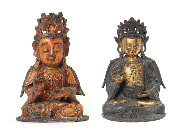 Two bronze figures of Guanyin Late Ming Dynasty