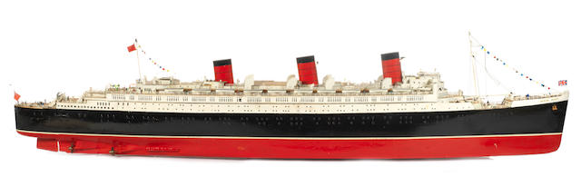 A large radio controlled pond model of the RMS Queen Mary  65x13x18ins.(166x33x46cm) 2