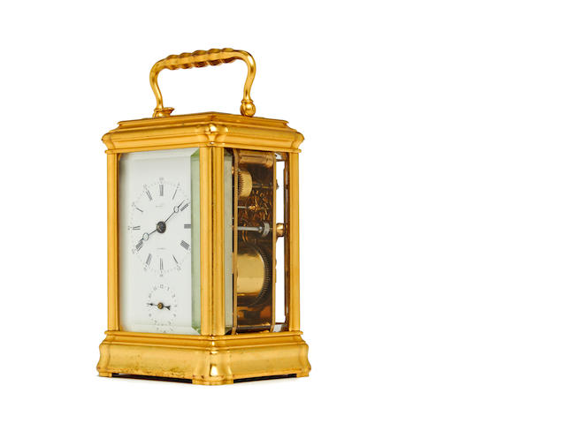 A 19th century gilt carriage clock, with repeat Soldano for Dent. No. 238