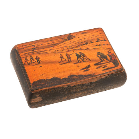 An early 19th century penwork Mauchline ware snuff box