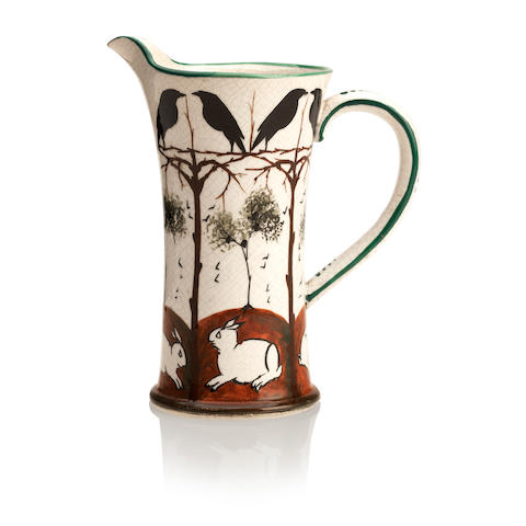 A rare Earlshall 'Rooks and Rabbits' Derby milk jug