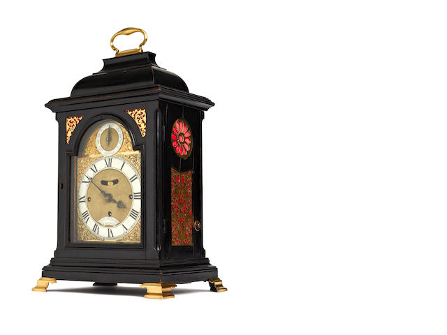 An 18th century ebonised musical bracket clock circa 1760  Daniel Vauguion, London c.1760-93