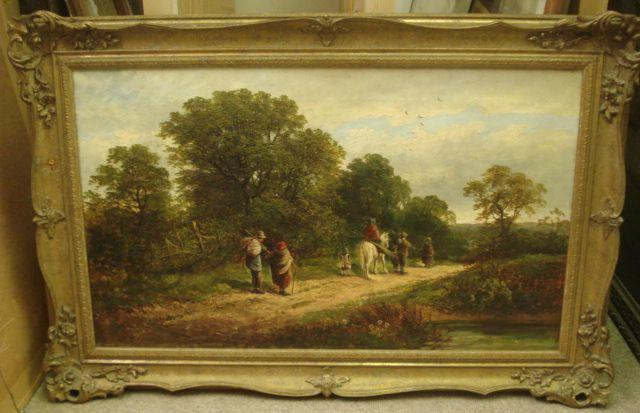English School, 19th Century Walking Down the Lane 44.5 x 75cm.